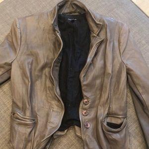 Muubaa Grey Woman's Leather Jacket size 4 (uk 8)
